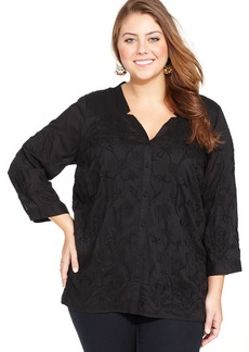 Lucky Brand Plus Size Embroidered Blouse