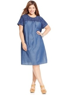 Lucky Brand Plus Size Embroidered Shift Dress