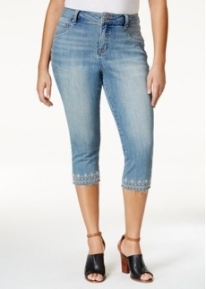Lucky Brand Plus Size Emma Victoria Wash Embroidered Capri Jeans