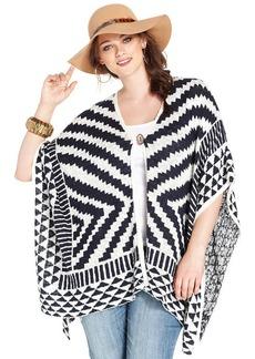 Lucky Brand Plus Size Intarsia Poncho