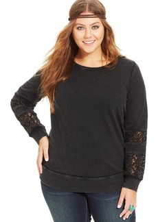 Lucky Brand Plus Size Lace-Trim Sweatshirt
