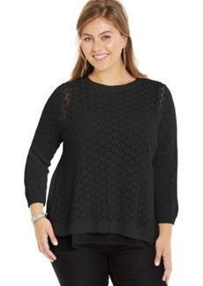Lucky Brand Plus Size Layered-Look Split-Back Sweater