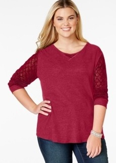 Lucky Brand Plus Size Mesh-Sleeve Thermal Top