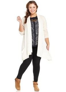 Lucky Brand Plus Size Mixed-Media Open-Front Cardigan