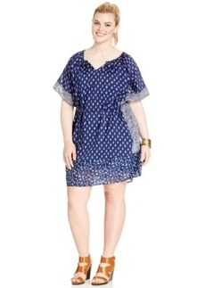 Lucky Brand Plus Size Mixed-Print Peasant Shift Dress