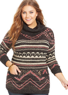 Lucky Brand Plus Size Patterned Cowl-Neck Sweater