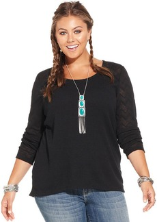 Lucky Brand Plus Size Patterned-Sleeve Thermal