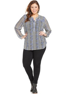 Lucky Brand Plus Size Printed Beaded Blouse