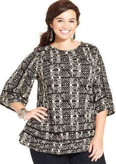 Lucky Brand Plus Size Printed Crochet-Trim Peasant Top