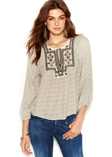 Lucky Brand Plus Size Printed Embroidered Peasant Top