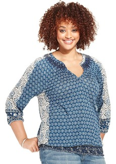 Lucky Brand Plus Size Printed Smocked Peasant Top