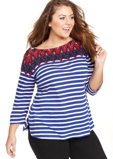 Lucky Brand Plus Size Printed Striped Top