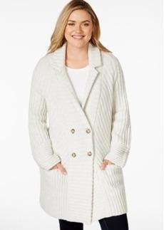 Lucky Brand Plus Size Rib-Knit Sweater Coat