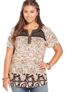 Lucky Brand Plus Size Short-Sleeve Printed Studded Top