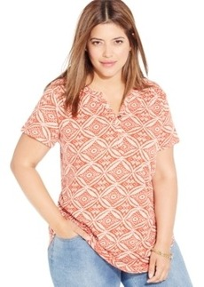 Lucky Brand Plus Size Short-Sleeve Printed Top