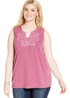 Lucky Brand Plus Size Sleeveless Embroidered Top