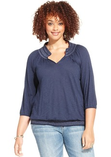 Lucky Brand Plus Size Smocked Peasant Top