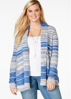 Lucky Brand Plus Size Striped Open-Front Cardigan