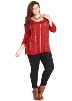 Lucky Brand Plus Size Three-Quarter-Sleeve Beaded Top