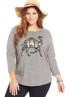 Lucky Brand Plus Size Three-Quarter-Sleeve Camel-Print Tee
