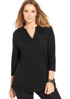 Lucky Brand Plus Size Three-Quarter-Sleeve Crochet Top