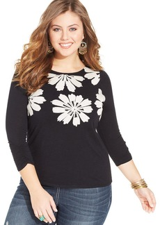Lucky Brand Plus Size Three-Quarter-Sleeve Embroidered Top