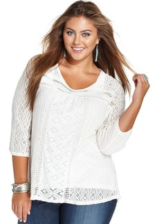 Lucky Brand Plus Size Three-Quarter-Sleeve Lace Top