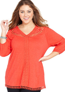 Lucky Brand Plus Size Three-Quarter-Sleeve Lace-Trim Top