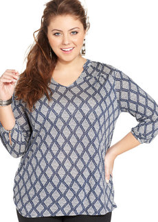 Lucky Brand Plus Size Three-Quarter-Sleeve Printed Top