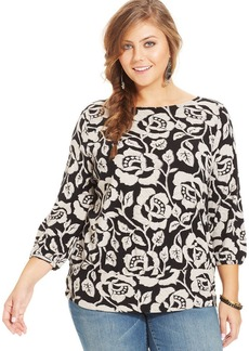 Lucky Brand Plus Size Three-Quarter-Sleeve Rose-Print Top
