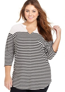 Lucky Brand Plus Size Three-Quarter-Sleeve Striped Top