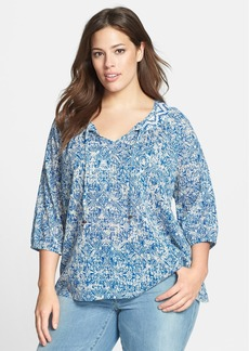 Lucky Brand Print Cotton Peasant Top (Plus Size)
