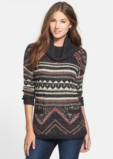 Lucky Brand Print Cowl Neck Sweater