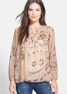 Lucky Brand Print Georgette Peasant Blouse