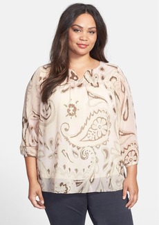Lucky Brand Print Georgette Peasant Blouse (Plus Size)