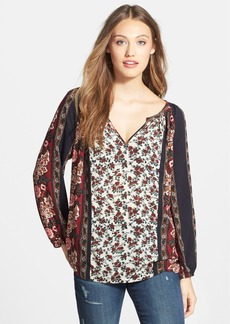 Lucky Brand Print Split Neck Top