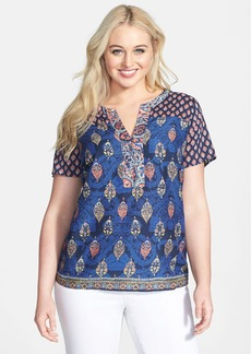 Lucky Brand Print Split Neck Woven Top (Plus Size)