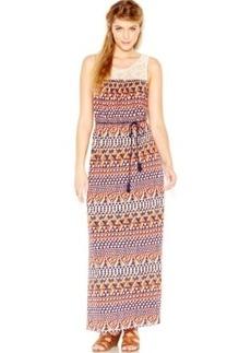 Lucky Brand Printed Belt Maxi Dress