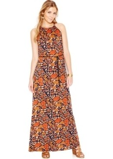 Lucky Brand Printed Belted Maxi Dress