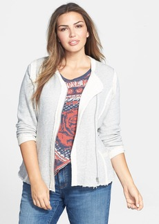 Lucky Brand Raw Edge Cotton Knit Jacket (Plus Size)