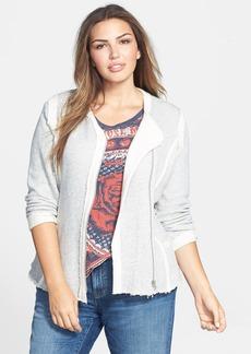 Lucky Brand Raw Edge Cotton Knit Jacket (Plus Size)