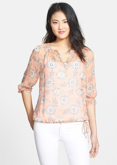 Lucky Brand 'Riviera' Floral Print Silk Peasant Blouse