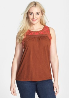 Lucky Brand 'Rosalina' Embroidered Cotton Tank (Plus Size)