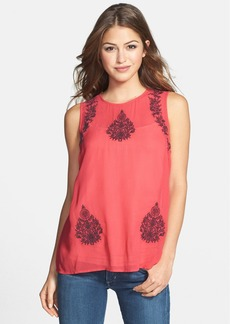 Lucky Brand 'Ruby' Embroidered Georgette Tank