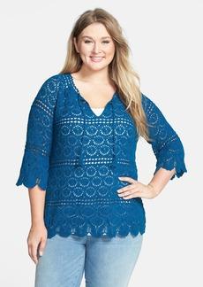 Lucky Brand 'Sapphire' Crochet Tunic (Plus Size)
