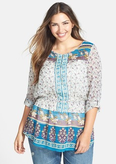 Lucky Brand 'Savannah Gypsy' Print Peasant Top (Plus Size)