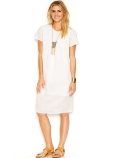 Lucky Brand Short-Sleeve Embroidered Shift Dress