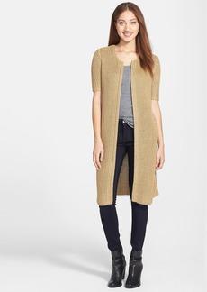 Lucky Brand Short Sleeve Metallic Long Cardigan