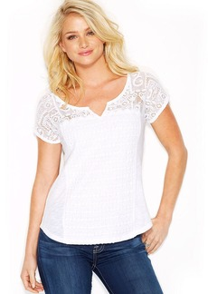 Lucky Brand Short-Sleeve Patchwork Lace Top