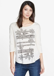 Lucky Brand 'Sketched Floral' Three-Quarter Sleeve Tee